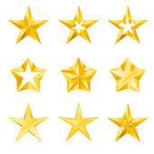 Diferentes tipos y formas de estrellas de oro — Vector de stock