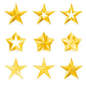 Different types and forms of gold stars — Stock Vector