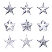 Different types and forms of silver stars — Stock Vector