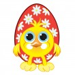 Small beautiful chicken with easter eggs — Stock Vector