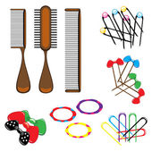 Three types of combs and a variety of beautiful hair accessories — Stock Vector