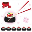 Japanese rolls with sauce and chopsticks — Stock Vector
