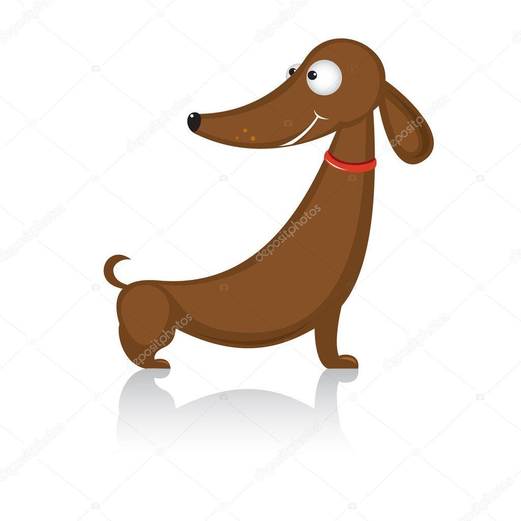 Bassotto a cartone animato divertente cane razza