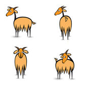 Abstract four goats in different positions — Stock Vector