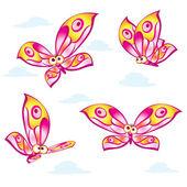 Dibujos animados de mariposas coloridas — Vector de stock