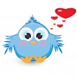In love with shy blue sparrow — Stock Vector #5712144