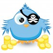 Cartoon pirate sparrow with gold coins — Stock Vector