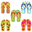 Five pairs of colorful flip flops - Stok Vektör