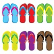 Six pairs of colorful flip flops - Stok Vektör