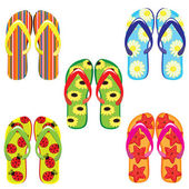 Five pairs of colorful flip flops — Stock Vector