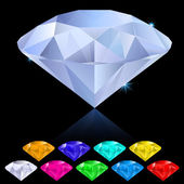 Realistic diamonds in different colors — Stock Vector