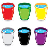 Set of colorful buckets of soapy water — Stock Vector