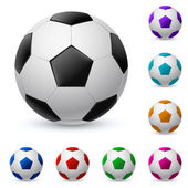 Realistic soccer ball in different colors — Stock Vector