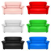 A set of multi-colored models of sofas. Illustration on white — Stockvektor