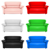 A set of multi-colored models of sofas. Illustration on white — Vector de stock