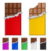 Set of chocolate bars in colorful wrappers — Stock Vector