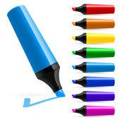 Realistische multi-gekleurde markeringen — Stockvector