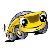Funny yellow car — Stock Vector