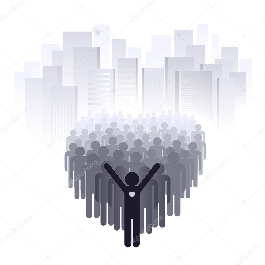 Love for the big city. Abstract illustration of a designer on a white background    Stock Vector #6088630