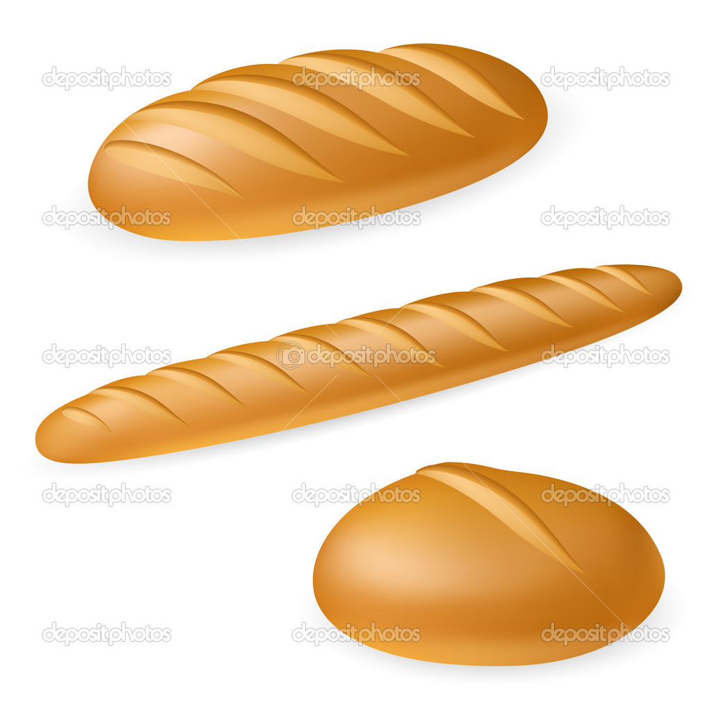 Three realistic bread. Illustration on white background  — Stock Vector #6147134