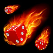 Dice in fire — Stock Vector