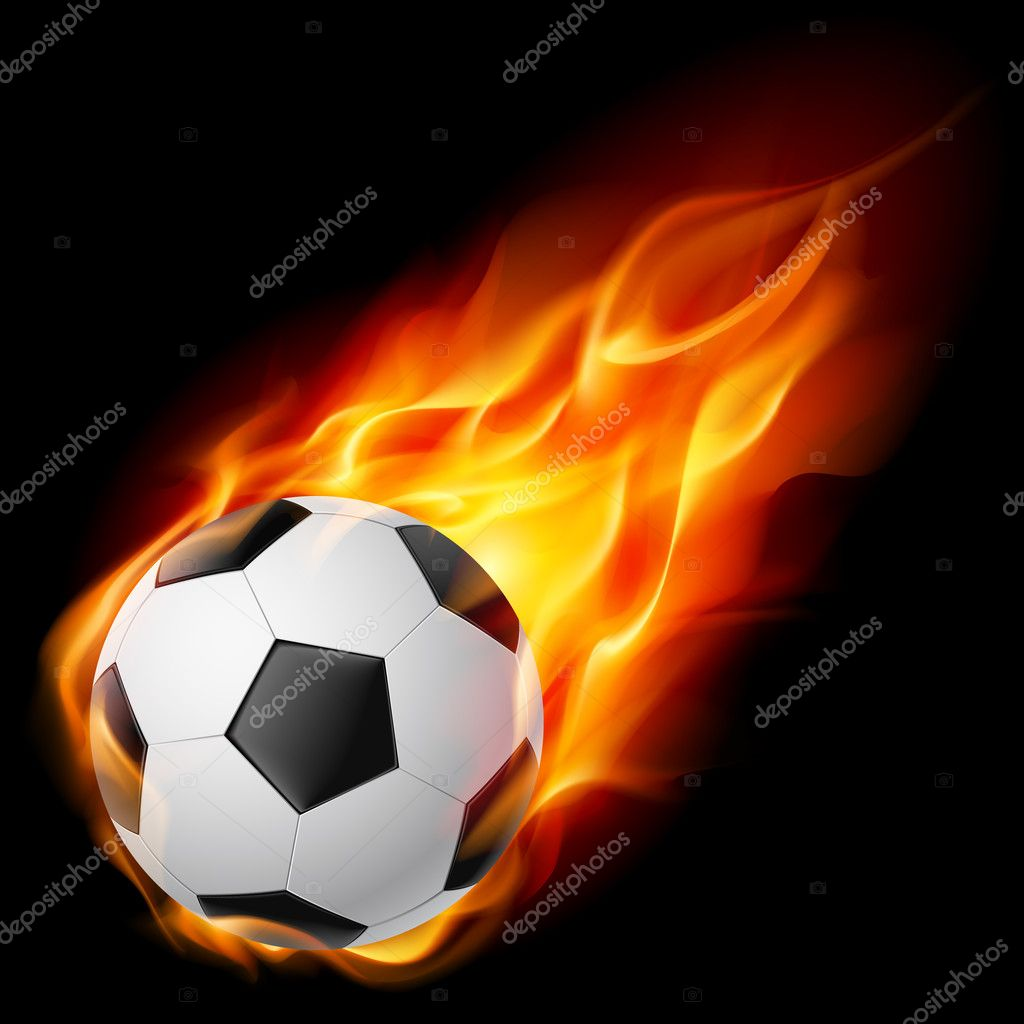 Soccer Ball on Fire. Illustration on black background — Stock Vector #6227244