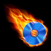 Burning CD — Vettoriale Stock