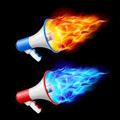 Megaphones in flame — Stock Vector
