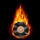 Vinyl record burning symbol — Stock Vector