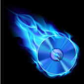 Burning blue CD — Stock Vector