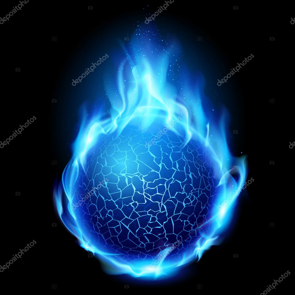 Blue fire ball. Illustration on black background for design  Stock Vector #6377843