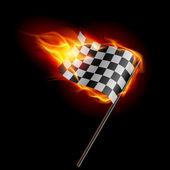 Burning checkered racing flag — Stock Vector