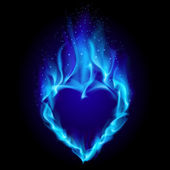 Heart in blue fire — Stock Vector