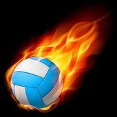 Voleibol de fogo realista — Vetor de Stock