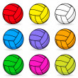 Royalty-Free Stock Vector Image: Cartoon volleyball in different colors