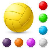 Multi-colored volleyball realiste — Stock Vector
