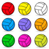 Cartoon volleyball in different colors — Stock Vector
