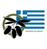 Flag of Greece with olives — Stock Vector