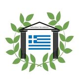 Greek Temple with Doric columns and greek flag — Stock Vector