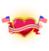 Heart with ribbons for July 4Th — Stock Vector