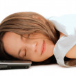 Woman sleeping on the laptop — Stock Photo