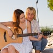 Learning to play guitar — Stock Photo