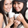 Asian women drinking coffee — Foto Stock