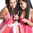 Stock Photo: Asiwomen receiving valentine gifts