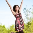Jumping for joy — Stock Photo