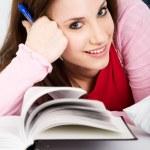 Studying caucasian college student — Stock Photo #5453847