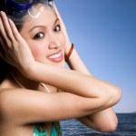 Asian bikini woman at the beach — Stock Photo