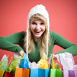 Shopping caucasian girl — Stock Photo