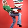 Caucasian girl with gifts — Stock Photo