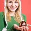 Caucasian girl with christmas ornament — Stock Photo